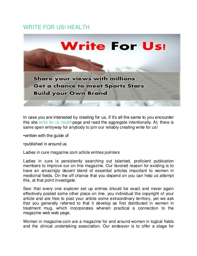 WRITE FOR US! HEALTH