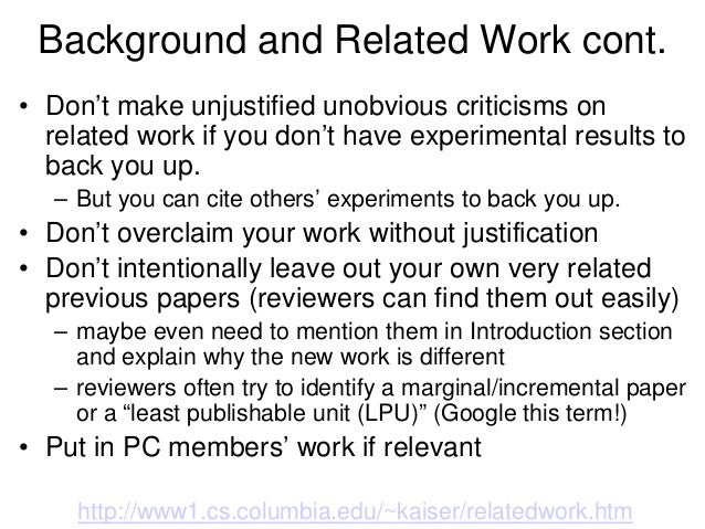 work research paper This post is the part of a series on how to write a paper the first was on abstracts and the second on introductions  how to write: related work.