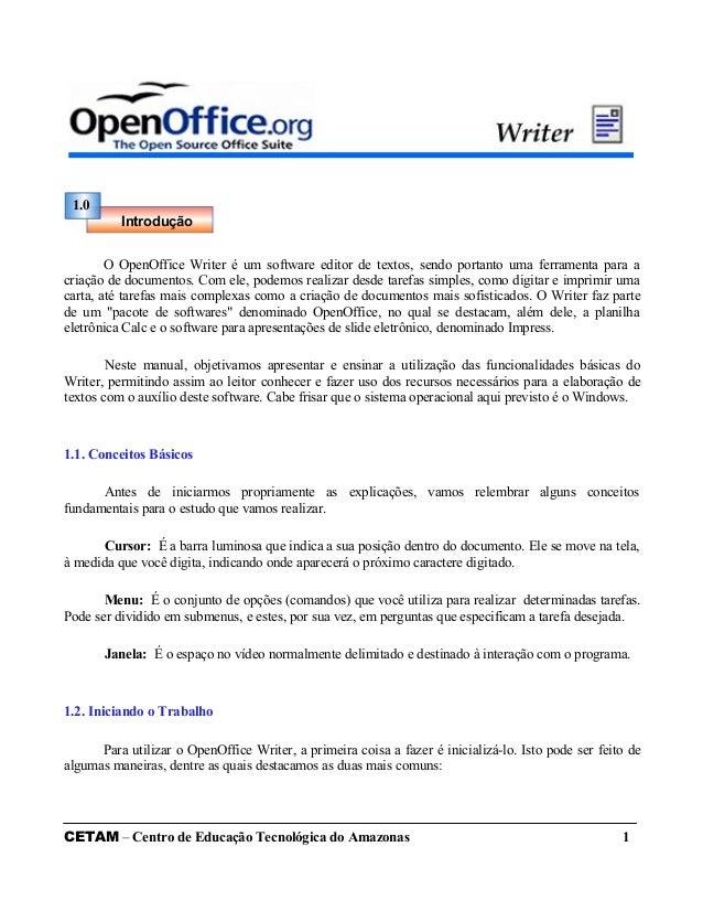O OpenOffice Writer é um software editor de textos, sendo portanto uma ferramenta para a criação de documentos. Com ele, p...