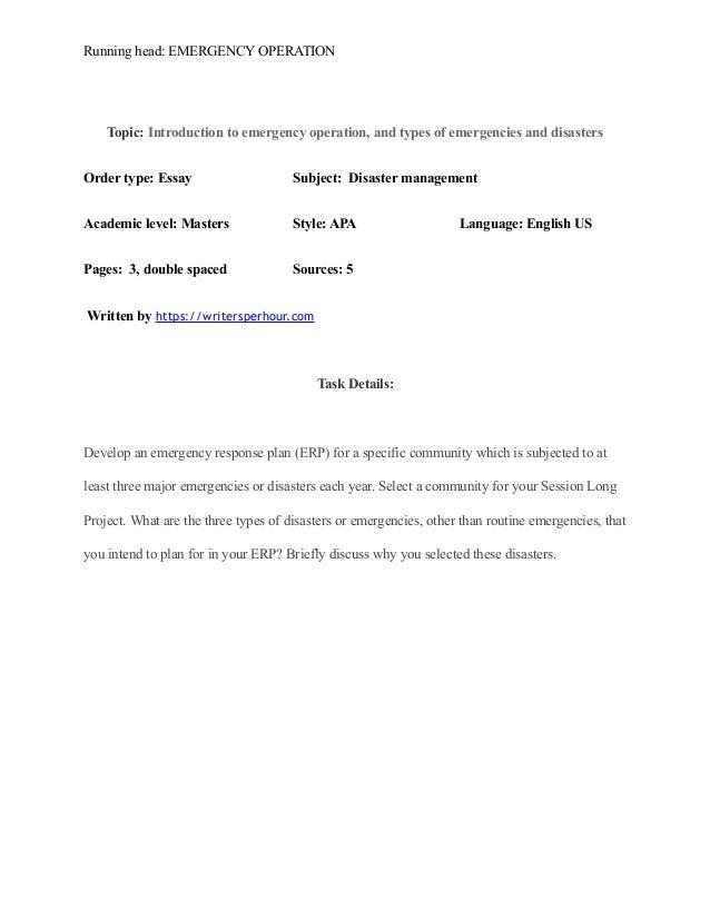 Emergency preparedness 3 essay