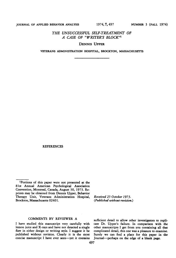 JOURNAL OF APPLIED BEHAVIOR ANALYSIS                        1974, 7, 497              NUMBER 3 (FALL       1974)          ...