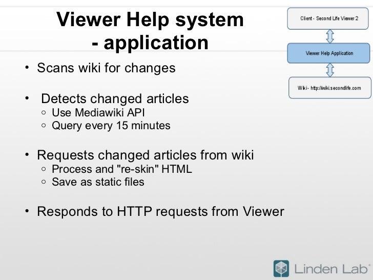 Viewer Help system - application <ul><ul><li>Scans wiki for changes </li></ul></ul><ul><ul><li> Detects changed articles ...