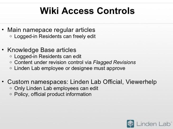 Wiki Access Controls <ul><ul><li>Main namepace regular articles </li></ul></ul><ul><ul><ul><li>Logged-in Residents can fre...