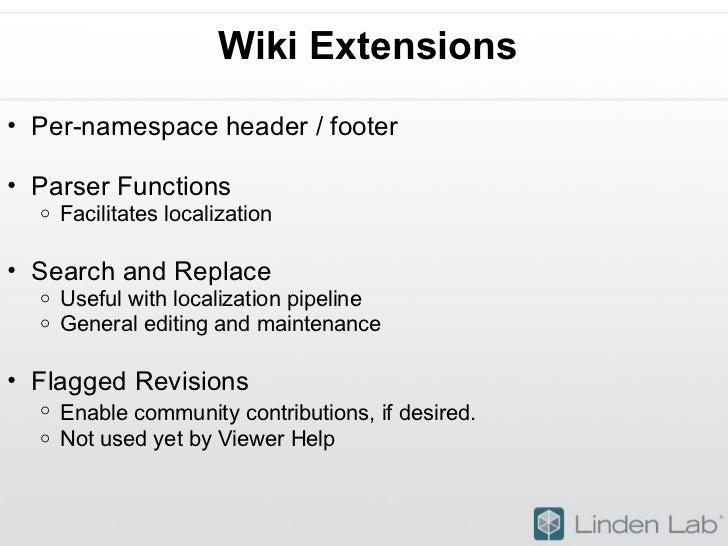 Wiki Extensions <ul><ul><li>Per-namespace header / footer  </li></ul></ul><ul><ul><li>Parser Functions </li></ul></ul><ul...