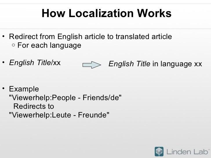 How Localization Works <ul><ul><li>Redirect from English article to translated article </li></ul></ul><ul><ul><ul><li>For ...