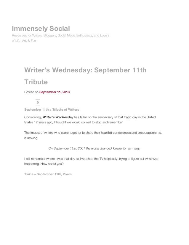 Writer's Wednesday: September 11th Tribute Posted on September 11, 2013 0 September 11th a Tribute of Writers Considering,...