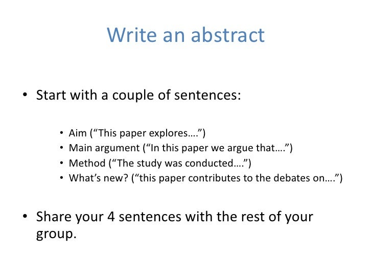 how to write an abstract for an article