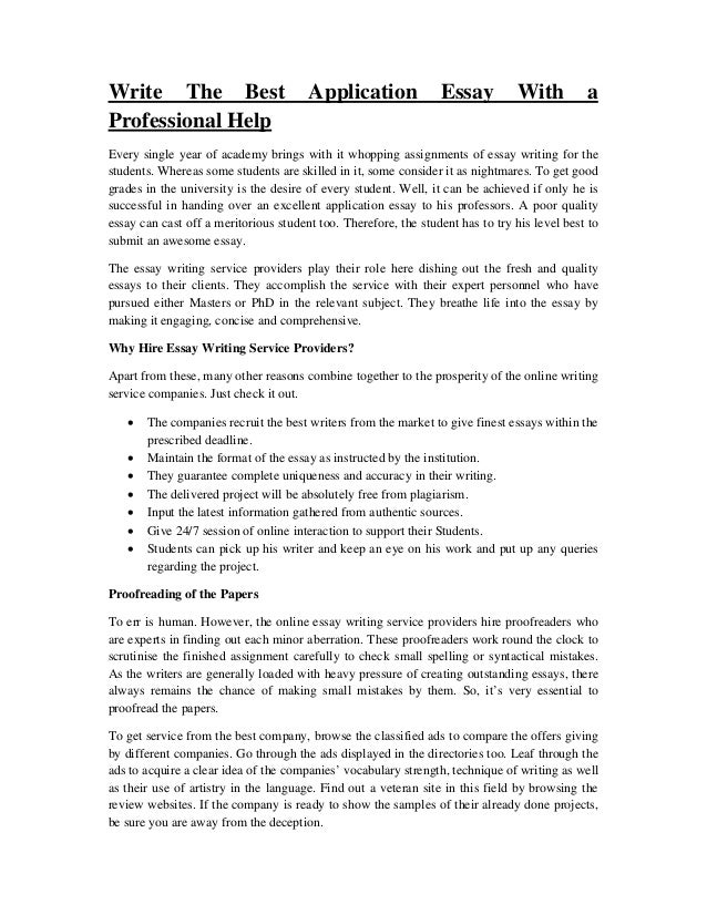 Professional essay writing help