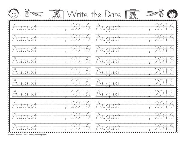 Write the Date August///////,/2016 August///////,/2016 August///////,/2016 August///////,/2016 August///////,/2016 August/...