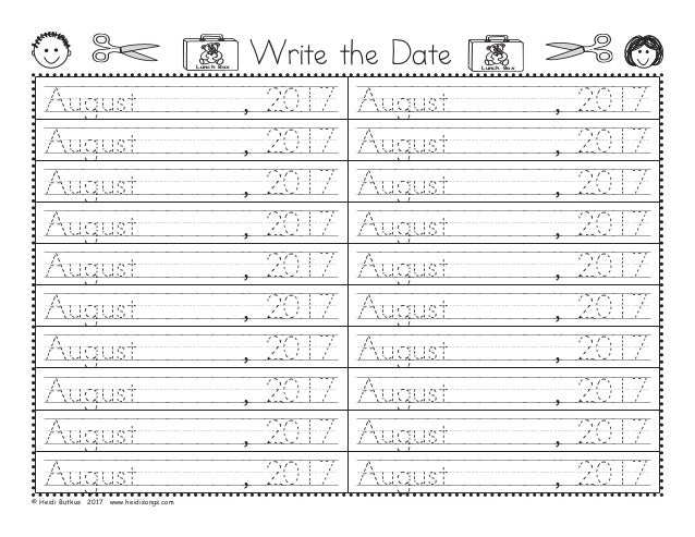 Write the Date August///////,/2017 August///////,/2017 August///////,/2017 August///////,/2017 August///////,/2017 August/...
