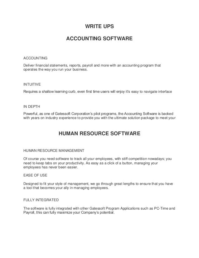 WRITE UPS ACCOUNTING SOFTWARE ACCOUNTING Deliver financial statements, reports, payroll and more with an accounting progra...
