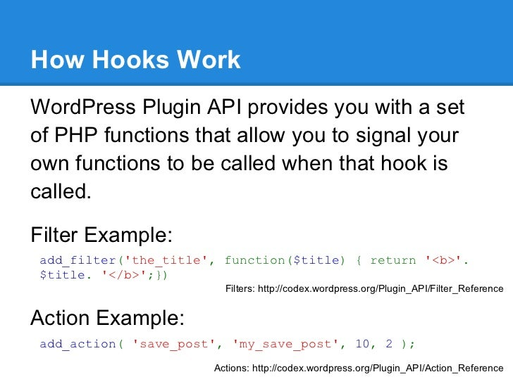 How Hooks WorkWordPress Plugin API provides you with a setof PHP functions that allow you to signal yourown functions to b...