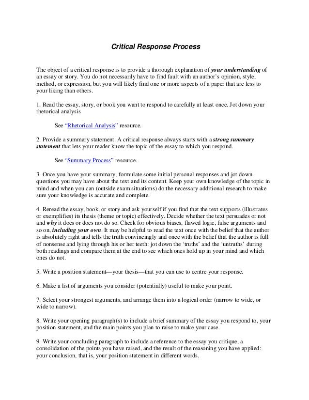 what is a critical response essay example how to write a critical essay sample essays wikihow