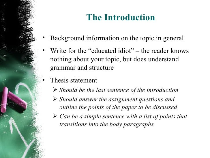 essay background section This section describes the main elements of a written thesis for the norwegian   the background sets the general tone for your thesis it should.