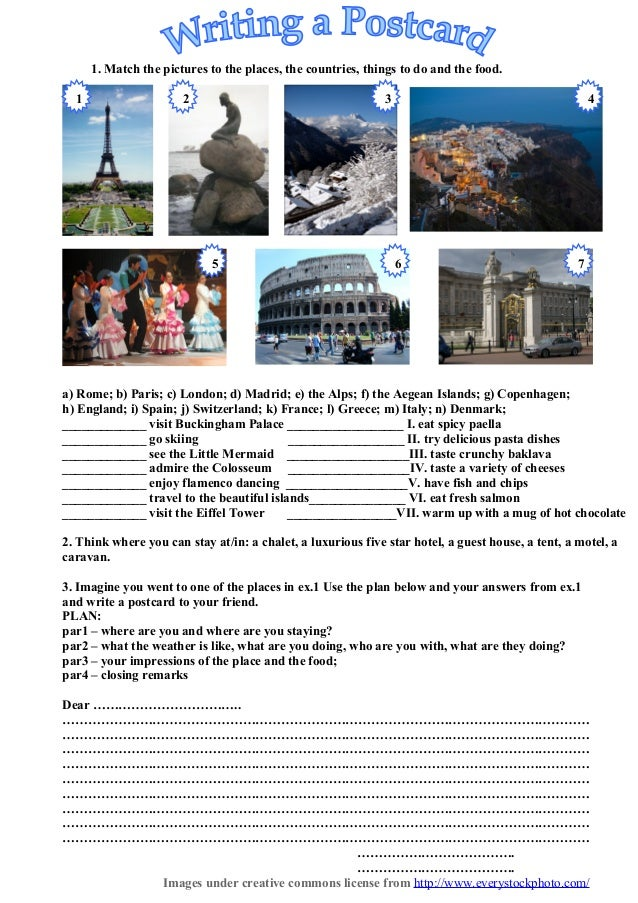 Postcard How To Build Global Community: Writing A-postcard Present Continuous