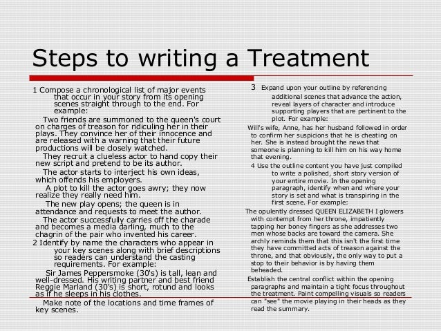Writing a treatment 3 for Film treatment template