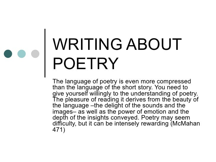 WRITING ABOUT POETRY The language of poetry is even more compressed than the language of the short story. You need to give...