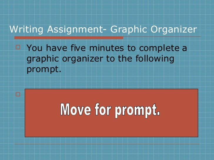 Writing Assignment- Graphic Organizer <ul><li>You have five minutes to complete a graphic organizer to the following promp...