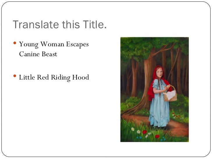 fairy tale essay title She first uses the allusion to the fairy tale to describe an experience she had   this is underscored with the allusion in the title and in the close of the essay.