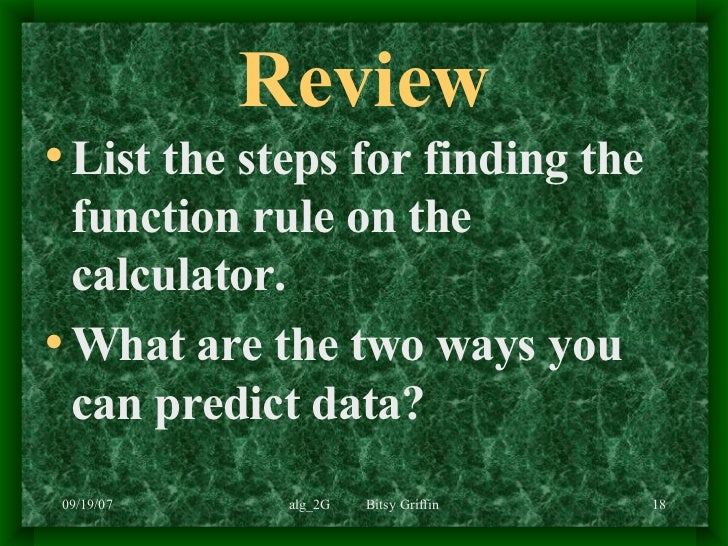 write a function rule from a table calculator