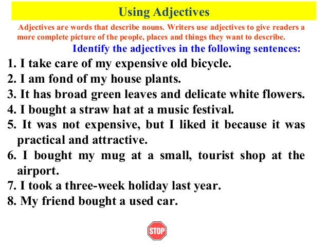 Using AdjectivesAdjectives are words that describe nouns. Writers use adjectives to give readers amore complete picture of...