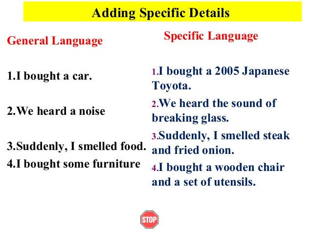 Adding Specific DetailsGeneral Language1.I bought a car.2.We heard a noise3.Suddenly, I smelled food.4.I bought some furni...