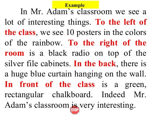 ExampleIn Mr. Adam's classroom we see alot of interesting things. To the left ofthe class, we see 10 posters in the colors...