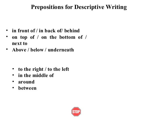 Prepositions for Descriptive Writing• in front of / in back of/ behind• on top of / on the bottom of /next to• Above / bel...