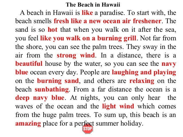descriptive essay of the beach