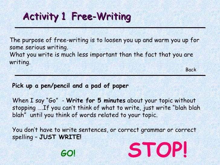 stop and go writing paper