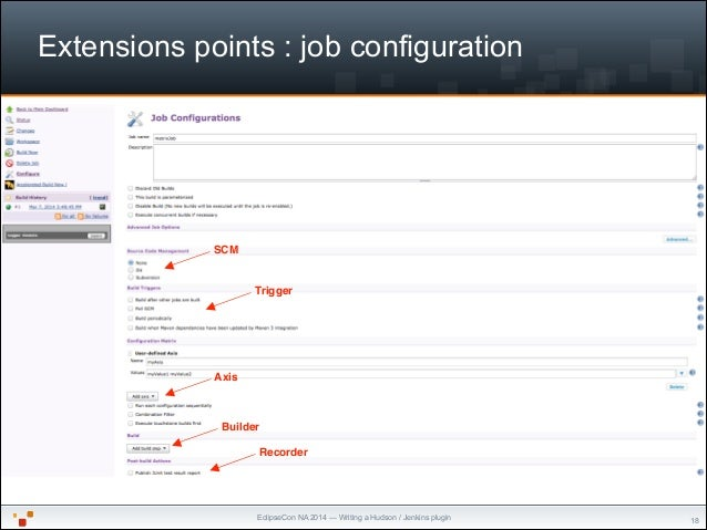 """EclipseCon NA 2014 — Writing a Hudson / Jenkins plugin Extensions points : job configuration """"18 SCM Trigger Axis Builder ..."""