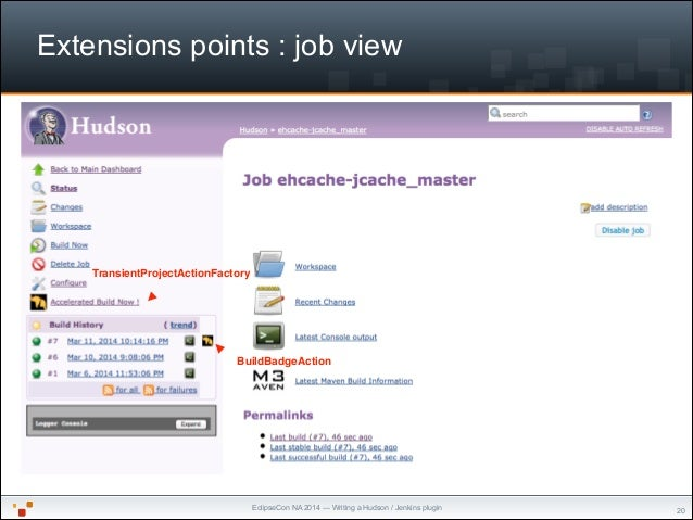 """EclipseCon NA 2014 — Writing a Hudson / Jenkins plugin Extensions points : job view """"20 TransientProjectActionFactory Buil..."""