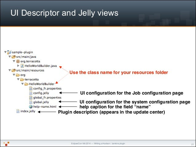 """EclipseCon NA 2014 — Writing a Hudson / Jenkins plugin UI Descriptor and Jelly views """"21 Use the class name for your resou..."""