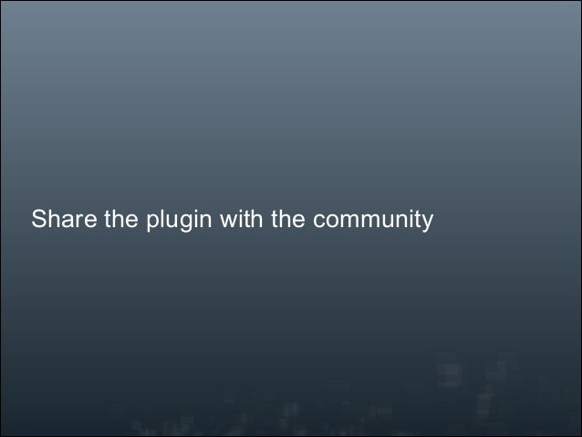 Share the plugin with the community