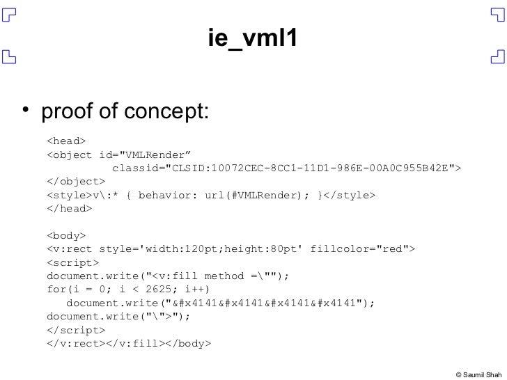 """ie_vml1 <ul><li>proof of concept: </li></ul><head> <object id=&quot;VMLRender"""" classid=&quot;CLSID:10072CEC-8CC1-11D1-986E..."""