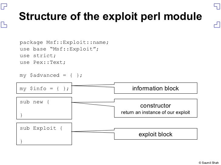 """Structure of the exploit perl module package Msf::Exploit::name; use base """"Msf::Exploit""""; use strict; use Pex::Text; my $a..."""