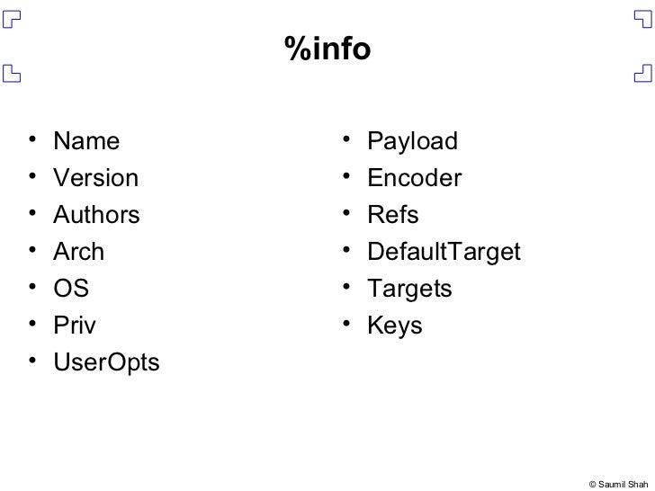%info <ul><li>Name </li></ul><ul><li>Version </li></ul><ul><li>Authors </li></ul><ul><li>Arch </li></ul><ul><li>OS </li></...