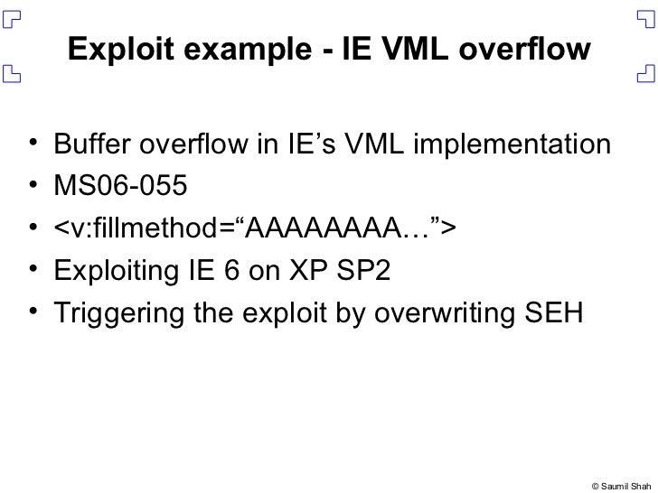 Exploit example - IE VML overflow <ul><li>Buffer overflow in IE's VML implementation </li></ul><ul><li>MS06-055 </li></ul>...