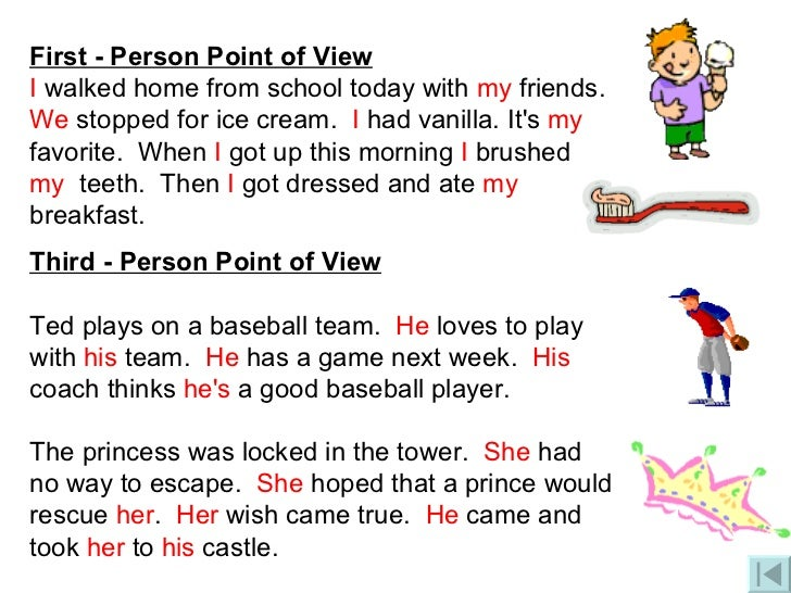 examples of writing in third person We show you some examples of writing from the third-person point of view it uses pronouns like he, she, it, or they.