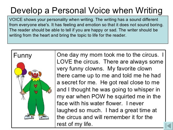 voice in essay writing The concept of voice is included in various writing textbooks, learning standards, and assessment rubrics, indicating the importance of this element in writing.