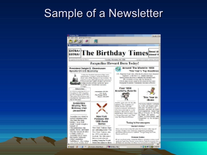 ... 18. Sample Of A Newsletter ...  Example Of A News Letter