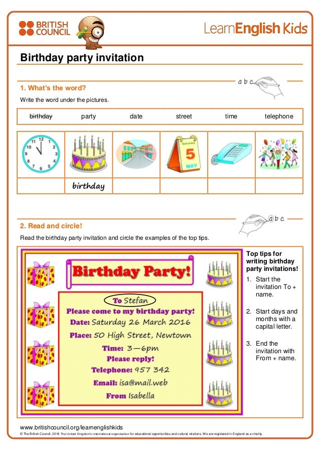 writing practice birthday party invitation worksheet. Black Bedroom Furniture Sets. Home Design Ideas