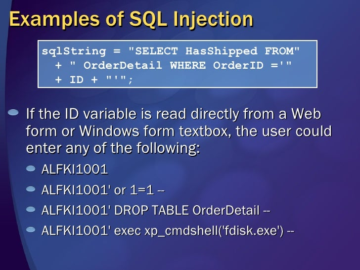 Writing secure code threat defense - Sql injection drop table example ...
