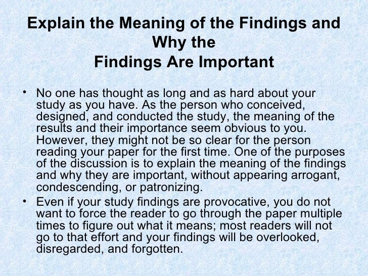 writing an analysis of findings