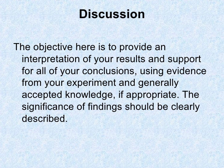 Discussion of results dissertation