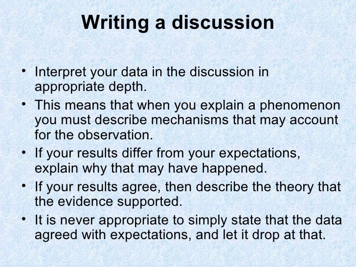 Writing results and discussion dissertation
