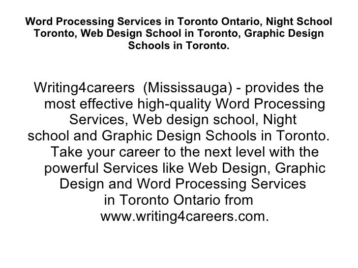 Word Processing Services In Toronto Ontario