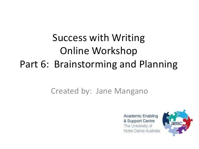 Success with Writing         Online WorkshopPart 6: Brainstorming and Planning      Created by: Jane Mangano