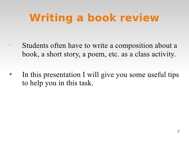 Writing a book review for the English class