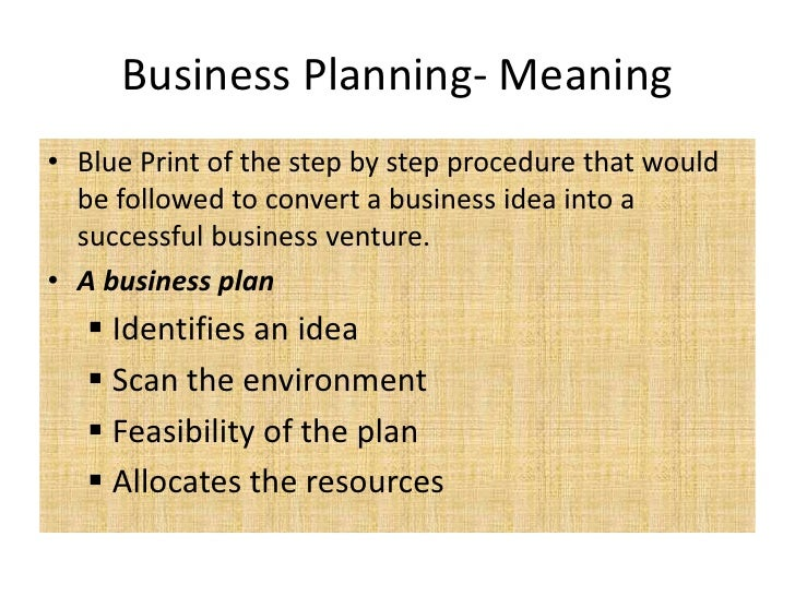Meaning and definition of business planning